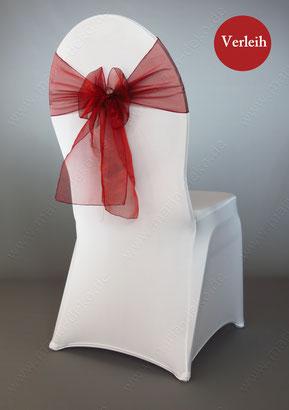 Stuhlschleifen in Farbe Bordeaux Rot mieten