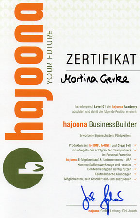 hajoona businessbilder urkunde teampartnerin martina gerke