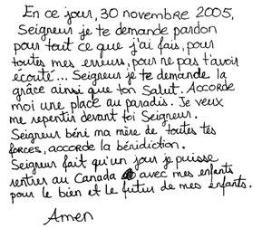 Prière écrite par Nathalie