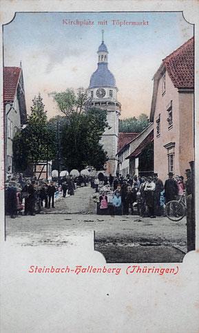 AK Steinbach-Hallenberg Kirchplatz Töpfermarkt