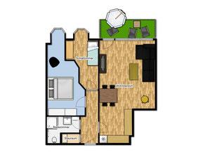 Bild: Grundriss der Wohnung Nr. 50 in der Residenz Meeresbrandung