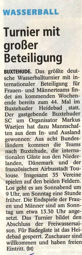 Buxtehuder Tageblatt vom 4. September 2015. Turnier mit großer Beteiligung.