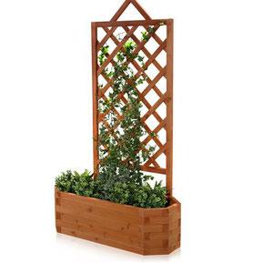 fioriera legno +grigliato + vasi +rampicante