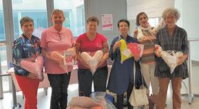 Les cœurs fabriqués par l'atelier couture du Club donnés à Symphonie 17