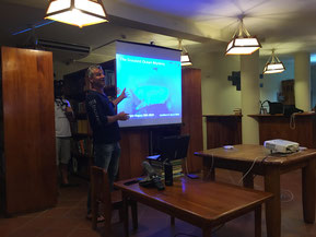 Jonathan R Green giving a presentation in Galapagos