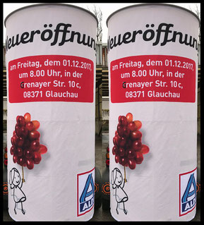 ALDI Neueröffnung in Glauchau; Aussenwerbung ; mobile  Werbesäule ; Reklame ; Werbung ; mobile Außenwerbung ; refix GmbH ; advertising ; pillar ; column ; günstig; inovation ; einzigartig ; unique