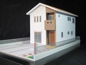 1/50色付の住宅模型(外構付き)画像