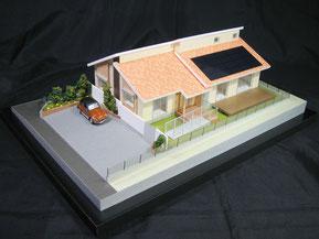 1/72色付分解型の平屋住宅模型