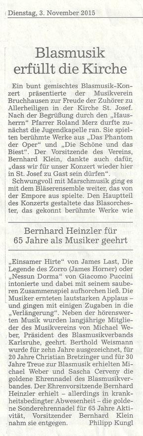 """BNN Bericht """"Konzert in St. Josef"""" 03.11.2015"""