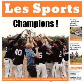 LA REP 01/09/2014 : BASEBALL - La UNE
