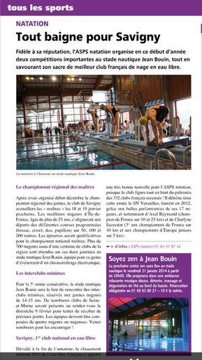 LA FEUILLE janvier 2014 natation