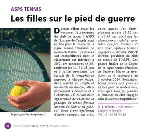 LA FEUILLE juin 2014 Tennis
