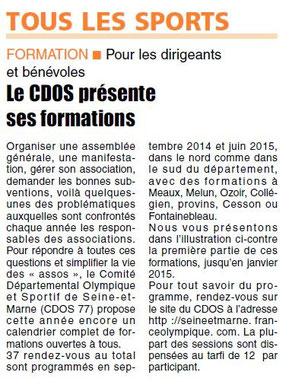 LA REP 15/09/2014 FORMATIONS CDOS77
