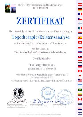 Zertifikat für den Abschluß für Logotherapie und Existenzanalayse  für Angelina Haug