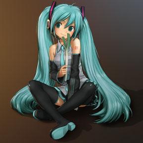 Nous pouvons donc imaginé une fan fiction sur Hatsune Miku (logiciel vocaloïd japonais et chanteuse virtuelle holographique): source: https://www.pinterest.com/pin/295900637987192156/