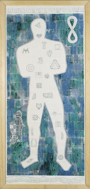 """Signore Francoforte"", 1996, Mischtechnik auf Papier, 210 x 100 cm"