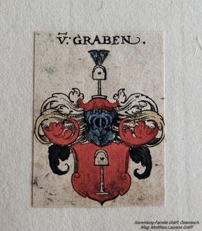 Coat of arms Von Graben (estate father Lambert Graef, OSB, *1848, also Lambert Gräf). Collection Matthias Laurenz Gräff