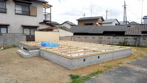 A様邸 基礎工事 土台敷き