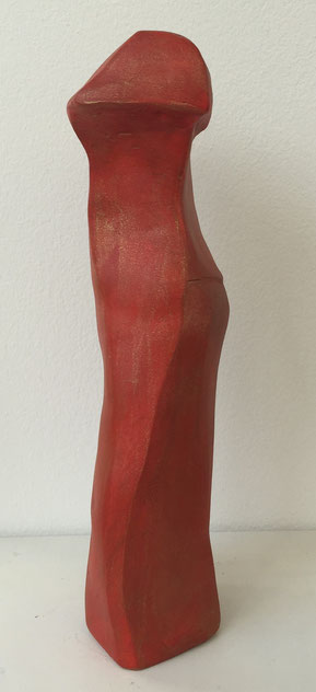 Rotes schmales Kleid, Ton bemalt, 29 cm