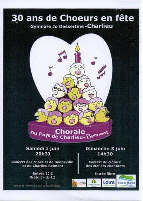 Chorale EVA de Bonneville invitée à Charlieu pour les 30 ans de la Choralede Charlieu-Belmont