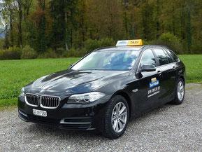 Taxi Fritschi mit BMW 530 D xDrive Kombi - Allradantrieb - Sitzheizung vorne und hinten - mit Ski bis 3 Personen