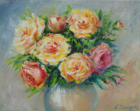 Vase of Roses Oil on canvas, 24x30cm. 02-2018