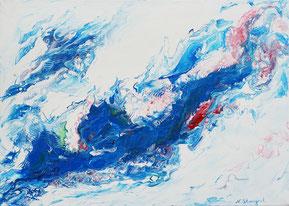 Blue flow Acrylic on canvas. 50x70cm. 05-2018
