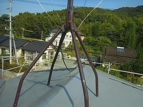 屋根上アンテナ塗装完成。 熊本市I様宅塗装時。