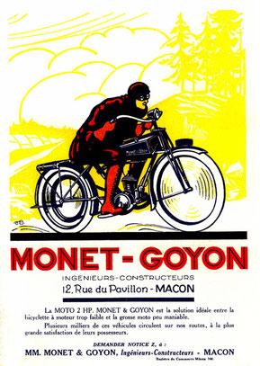 Affiche Moto 2 HP Monet & Goyon de 1923