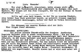 Abschrift des letzten Lebenszeichens der Eheleute Ida und Julius Nußbaum