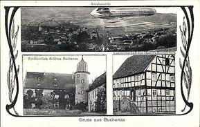 Postkarte etwa 1914 mit Gastwirtschaft Rosenstock - Sammlung Peter Schaaf, Buchenau