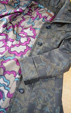 C.裏地はヴィンテージ銘仙の着物からリメイク
