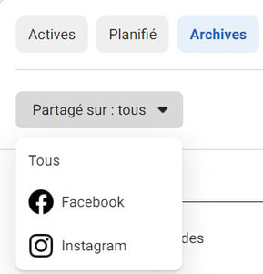 archives des stories page Facebook suite business