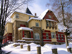 Villa am Brocken im Winter.