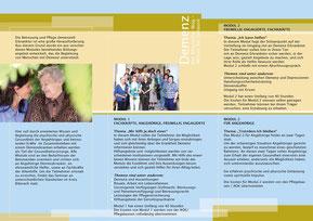 """Kurse Demenz: """"Biberacher Weg - Wissen für zu Hause"""", Prospekt - Rückseite"""