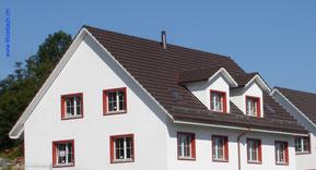 Fitze Dach AG Steildach Lukarnen, gedeckt mit Flachfalzziegeln