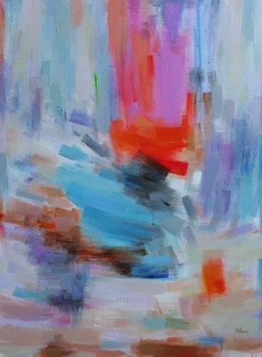 ROUGE ET BLEU (huile sur toile) 73 x 60 cm JF.Millan