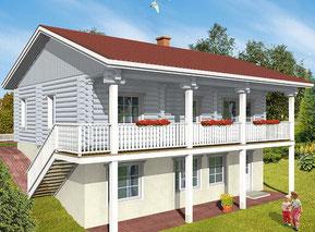 Blockhaus als Hanghaus - Wohnblockhaus mit Keller - Blockhäuser bauen - Massivholzhäuser - schlüsselfertig - Hausbau - Hausplanung - Ausbauhaus - freie Planung - Deckendorf - Passau