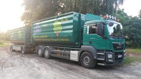 Containerfahrzeug zum Transport von Schüttgut, Erdbaumaterialien, Hackschnitzeln etc.