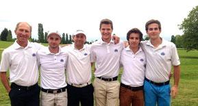 L'équipe homme 1 du Roncemay : Rémi Bérardot, Julien Berthelot, Thibaut Laveissière, Mickaël Matthiesen, Romain Heissat et Edmond Brussel