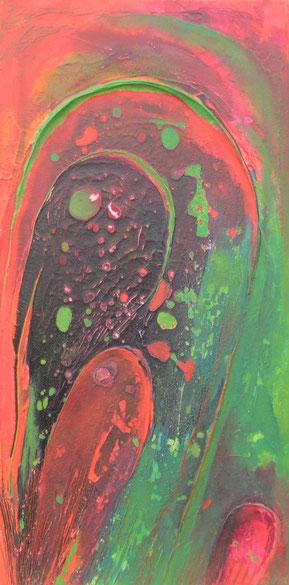Aus der Reihe: Es war rot und grün, 50 x 100 cm, Spachtelmasse, Tusche, Acrylfarbe