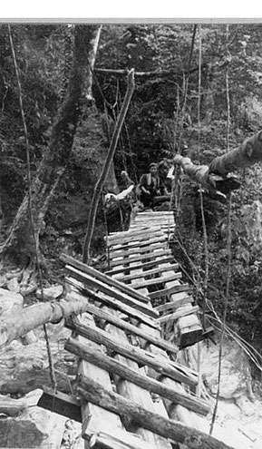こんな吊り橋を渡っていました。驚き(^_^;)