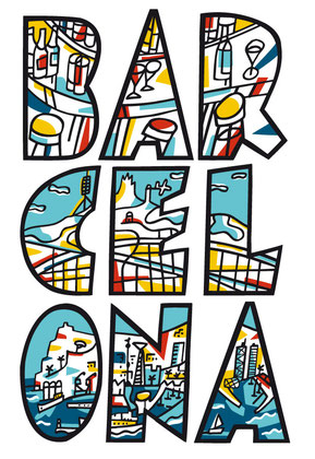 Cartel de promoción turística Barcelona - Estudio Mariscal.