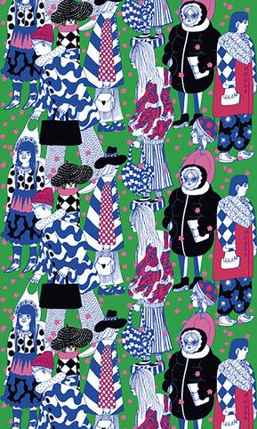 """マイヤ・ロウエカリ≪桜の花の雨≫ 2017年 マリメッコ・スピリッツ展のためのデザイン """"Kirsikankukkasade"""" Designed by Maija Louekari 2017 for Marimekko Spirit Exhibition"""