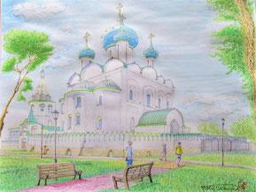 「聖堂への小径(スーズダリ・ラジヂェストヴェンスキー聖堂)」 水彩画 F8 <2019年6月製作> ロシア特有のタマネギ型ドームの教会、青いドームに星が散りばめられたスーズダリのラジヂェストヴェンスキー聖堂。三年前・2018年7月ロシアへの芸術探訪としてモスクワとその周辺を訪問。モスクワ北東郊外に黄金の環として知られる12~13世紀に栄えた中世の古都が点在しますが、その一つスーズダリ。そのクレムリン内にある更に古い11世紀に建築された聖堂と小径を描きました。