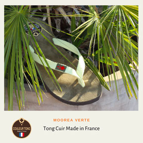 Tong cuir blanc made in France