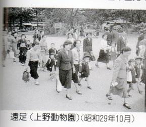 在園当時の遠足の様子、上野駅から正門に向かって歩く