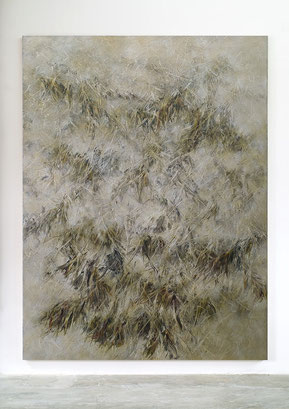 Skriptur XVII 2016 Kunstharz, Steinmehl, Goldbronze, Acrylfarbe, Ölfarbe auf Leinwand 210 x 160 cm
