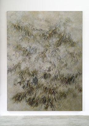 Skriptur XVII 2016 Kunstharz, Steinmehl, Goldbronze, Acrylfarbe, Ölfarbe auf Leinwand 210 x 160 cm Privatsammlung London