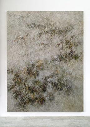 Skriptur XVI 2016 Kunstharz, Steinmehl, Acrylfarbe, Ölfarbe auf Leinwand, 210 x 160 cm, Privatsammlung Florenz